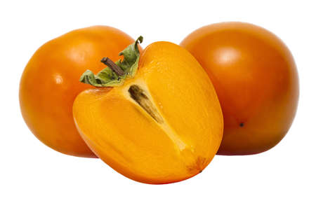 Two and a half of persimmons isolated on a white background.