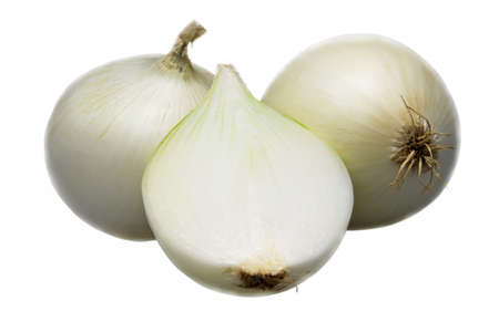 Two and half onion isolated on white background.