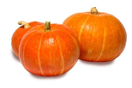 Three mature pumpkin isolated on white background. photo