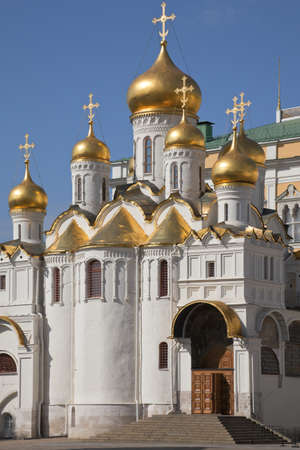Annunciation Cathedral of the Moscow Kremlin, view from Cathedral Square, Russia.