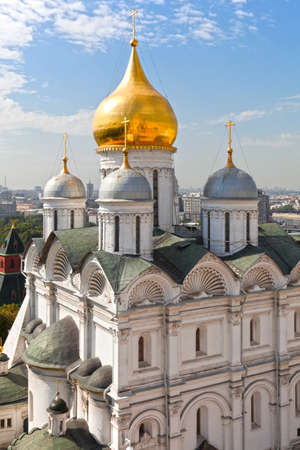 Archangel cathedral of the Moscow Kremlin. View from the bell tower of Ivan the Great. Russia.