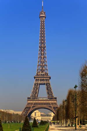 View of the Eiffel Tower from Park du Champ de Mars, Paris, France