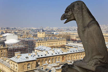 Famous chimera of Notre-Dame overlooking Paris. View from the top of Notre-Dame de Paris, France. Stock Photo