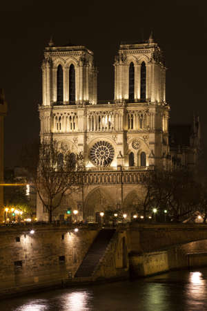 Night view Noter Dame de Paris. View from the River Seine. Paris, France. photo