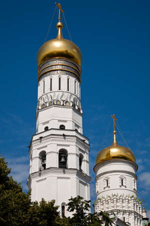 ivan: The Domes of the Ivan the Great Bell-Tower complex of the Moscow Kremlin, Russia  Stock Photo