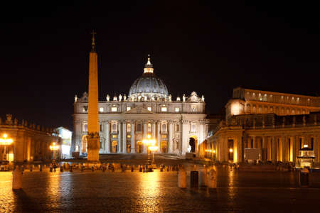 View of Basilica of Saint Peter and square at night, Vatican, Rome, Italy