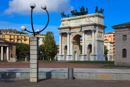 Arch of Peace and streetlamp in Sempione Park, Milan, Italy.