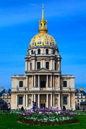 View of front the Cathedral of Invalides in Paris, France.
