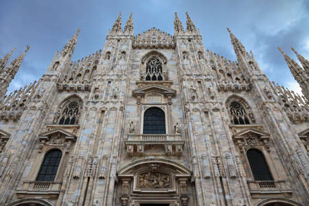 Facade of Milan Cathedral Duomo, Lombardy, Italy  Stock Photo