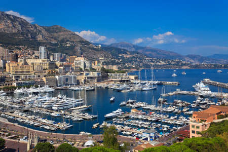 Aerial view on harbor in Monaco      Stock Photo