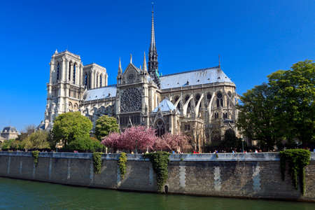 Notre Dame de Paris, view across the Seine River, Paris, France Editorial