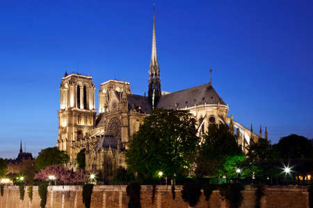 Notre Dame de Paris at night. View on cathedral across the Seine river. Paris, France. photo