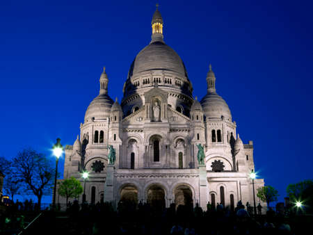 Basilica of Sacre Coeur at night. Montmartre - one of the most famous landmarks in Paris