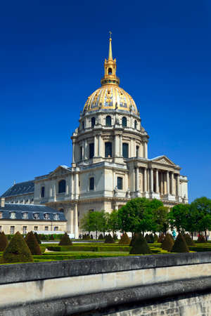 View of the Cathedral of Invalides and park in Paris, France photo