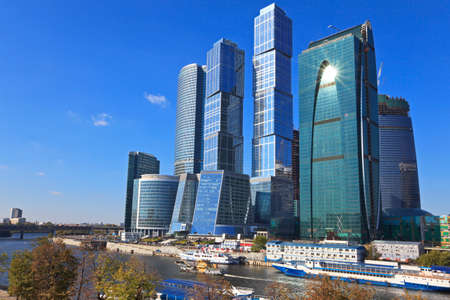 Construction of modern skyscrapers business centre in Moscow, Russia. photo