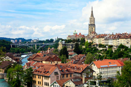 Bern, the capital of Switzerland  Panorama with cathedral and river Aare  photo