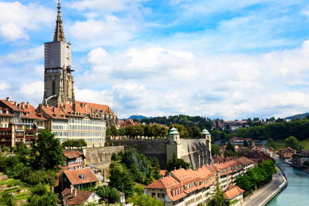 Bern, the capital of Switzerland  Panorama with cathedral and river Aare  Stock Photo - 22872489
