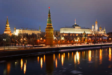 Moscow Kremlin and Moscow river, view from the bridge in the evening  Russia