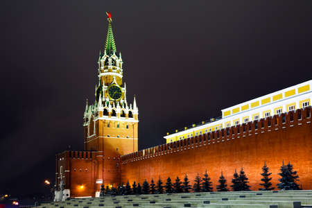 A Spasskaya tower of Kremlin, night view  Moscow, Russia  photo