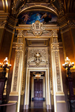 The Opera or Palace Garnier. Interior of a Large Foyer. Paris, France.