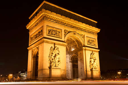 Arc de Triomphe - Arch of Triumph at night, Paris, France