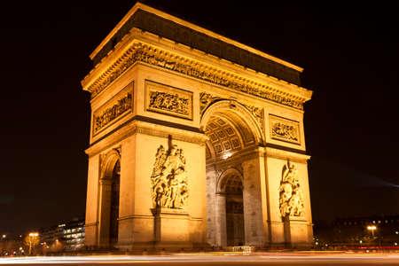 Arc de Triomphe - Arc de Triomphe, la nuit, Paris, France Banque d'images - 22342496