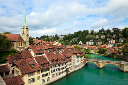 Bridge over  Aare river and colorful town houses in Berns Old Town district, Switzerland