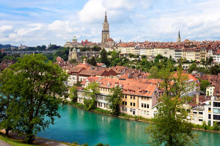 Bern, the capital of Switzerland. Panorama with cathedral and river Aare. Stock Photo