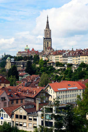 Bern, the capital of Switzerland. Panorama with cathedral. Stock Photo