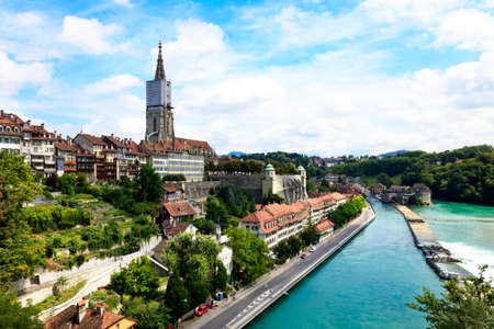 Bern, the capital of Switzerland. Panorama with cathedral and river Aare. photo