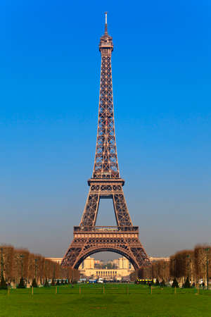 View of the Eiffel Tower from Park du Champ de Mars, Paris, France