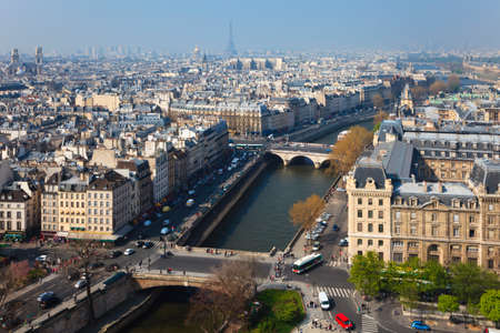 View of Paris from the height of Notre de Paris. Paris, France.