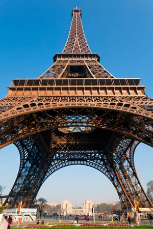Eiffel Tower up close, view from park du Champ de Mars. Paris, France. Stock Photo