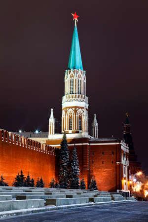 Nikolskaya tower of Moscow Kremlin at Red Square at night, Russia.        photo