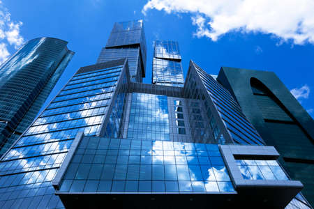 The glass facades of office buildings. photo
