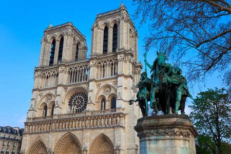 cite: Equestrian monument to Emperor Charlemagne near Notre Dame de Paris. Paris. France. Stock Photo