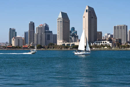 Skyline Cityscape of Downtown City of San Diego, from Coronado Island, California, USA