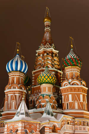Intercession Cathedral St. Basils on Red square in the evening, Moscow, Russia