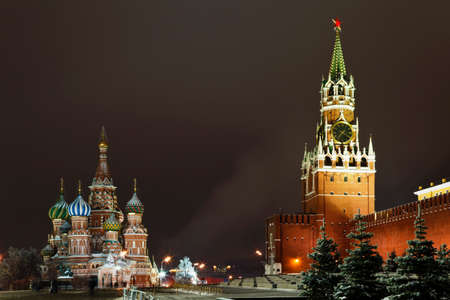 Spassky Tower of Moscow Kremlin and St. Basil's Cathedral on Red Square at night, Russia    photo