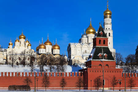 The view from the waterfront at the cathedrals Moscow Kremlin: Assumption, Archangel, Annunciation and the bell tower of Ivan the Great. Russia.
