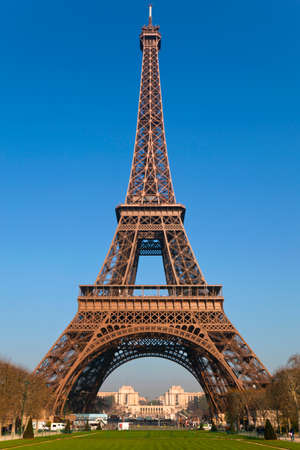 View of the Eiffel Tower from Park du Champ de Mars, Paris, France photo