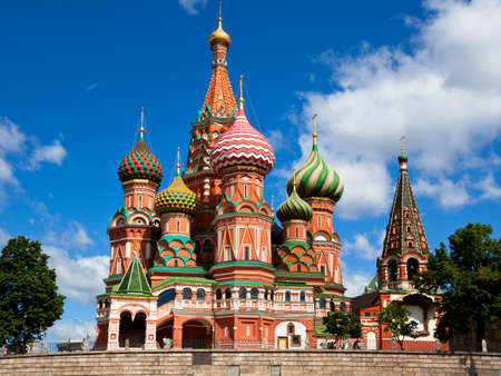 Intercession Cathedral St. Basils on Red square, Moscow, Russia photo