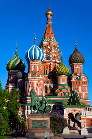 St. Basil's Cathedral (Pokrovsky Cathedral), and the monument to Minin and Pozharsky in Moscow. photo