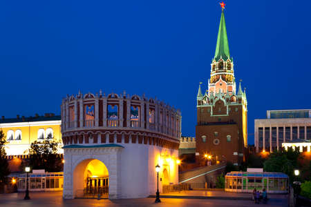 Kutafiya and Troitskaya Tower of the Moscow Kremlin. Night view. Moscow, Russia.