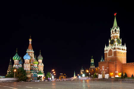spassky: Red Square at night. View of St. Basils Cathedral and the Spassky tower. Moscow, Russia. Stock Photo