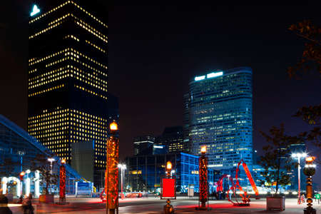 Night view of the financial and business district of Paris - La Défense.