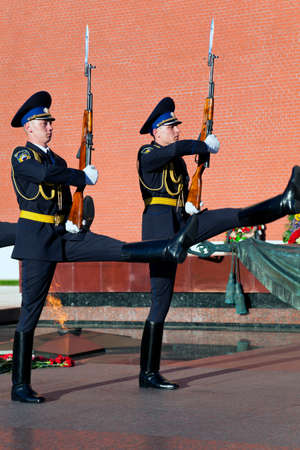 Change of the Guard of Honour at the tomb of the Unknown Soldier in Moscow.