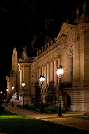 The Petit Palais in Paris at night. France.