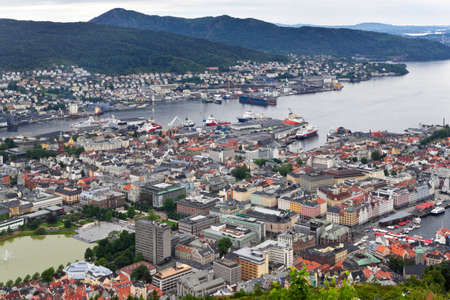 Bergen. View from mountain Floyen. Norway.