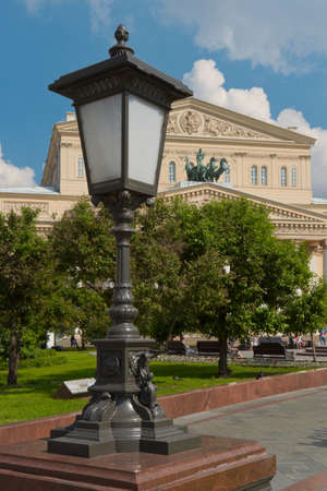 Street lamp in the public garden near the Bolshoi Theatre of Opera and Ballet in Moscow, Russia.